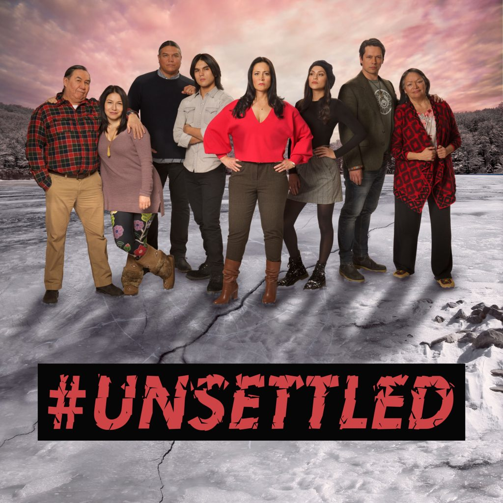 Unsettled poster - the main characters stand together on ice, with a crack forming underfoot.